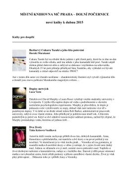 MÍSTNÍ KNIHOVNA MČ PRAHA – DOLNÍ POČERNICE nové knihy k