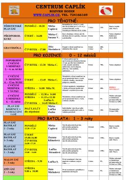 Rozvrh kurzů - Centrum Caplík