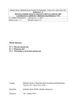 Směrnice MŠ - Základní škola Tyršova 913, Frenštát pod Radhoštěm