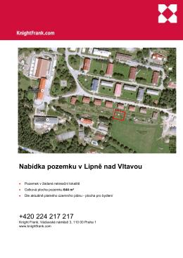 Nabídka pozemku v Lipně nad Vltavou +420 224 217