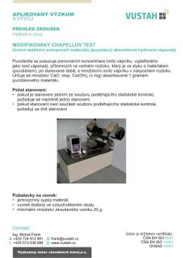 Chapelle test - Výzkumný ústav stavebních hmot,as