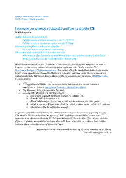 Informace pro zájemce o doktorské studium na katedře TZB