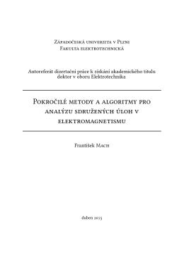 Z P F Autoreferát dizertační práce k získání akademického titulu