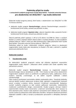 Podmínky přijímacího řízení pro doktorské studium - USP - VŠB-TUO