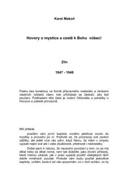 Karel Makoň Hovory o mystice a cestě k Bohu vůbec! Zlín 1947