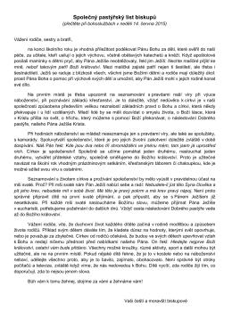 Pastýřský list 14. června 2015