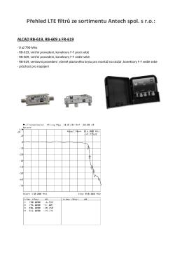 Přehled LTE filtrů ze sortimentu Antech spol. s r.o.:
