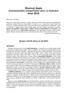 Sborový dopis únor 2015