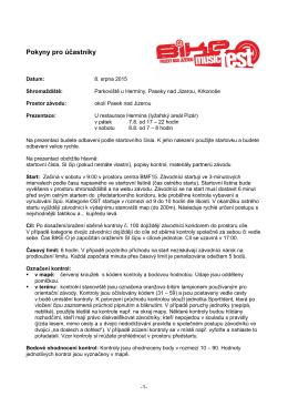 Pokyny pro účastníky orientačního cyklomaratonu