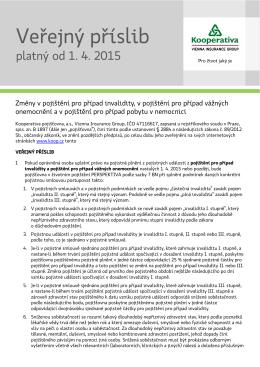 Veřejný příslib - změny v pojištění pro případ invalidity