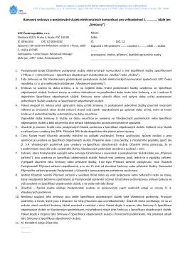 Rámcová smlouva + specifikace IP Tranzit
