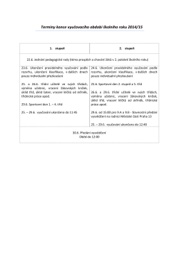 Termíny konce vyučovacího období školního roku 2014/15