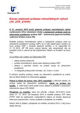 Konec platnosti průkazů mimořádných výhod (TP, ZTP, ZTP/P)