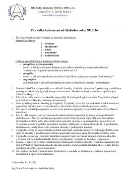 Pravidla hodnocení od školního roku 2015/16