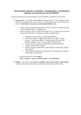 Interní pokyny Katedry ekonomiky a managementu v metalurgii ke