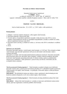 Pozvánka na řádnou valnou hromadu Statutární - LAMBRO
