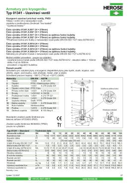 Armatury pro kryogeniku Typ 01341 - Uzavírací ventil