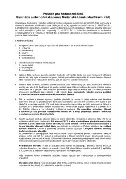 pravidla pro hodnocení žáků_od září 2015