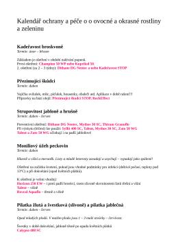 Kalendář ochrany a péče o o ovocné a okrasné rostliny a zeleninu