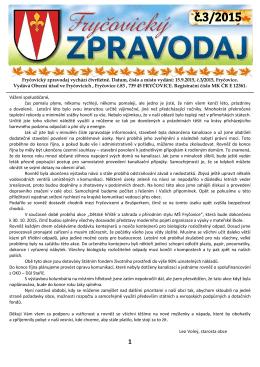 Fryčovický zpravodaj č.3 2015