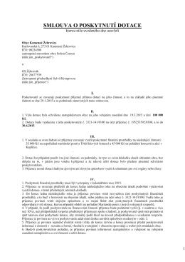 smlouva o dotaci OS Žehrovák 2015