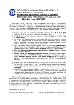 Organizace opravných zkoušek - Střední škola technická Přerov