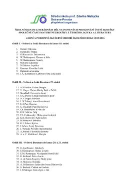 Školní seznam literárních děl a kritéria pro výběr maturitních zadání