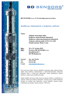 Pozvánka - Kurz metrologie tlaku 2015