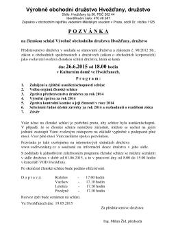 Pozvánka na VČS dne 26.6.2015