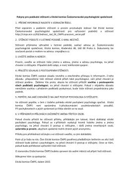 Pokyny pro podávání stížností u Etické komise Českomoravské