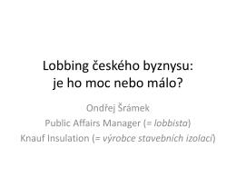 Lobbing českého byznysu: je ho moc nebo málo?