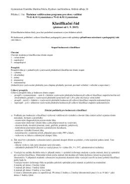 Platný klasifikační řád ve formátu PDF