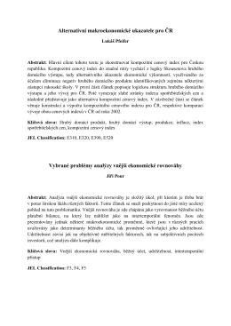 Alternativní makroekonomické ukazatele pro ČR Vybrané problémy
