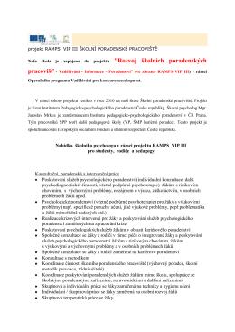 Rozvoj školních poradenských pracovišť – Vzdělávání – Informace