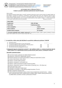 dotazník pro střední školu - Pedagogicko