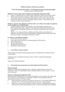 Informace pro pacienta EVRA 203 mikrogramů/24 hodin +