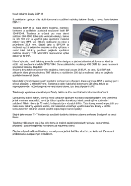 Nová tiskárna Brady BBP-11 S potěšením bychom Vás rádi