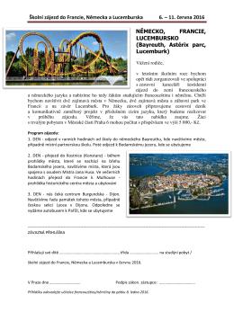 Školní zájezd do Francie, Německa a Lucemburska 6. – 11. června