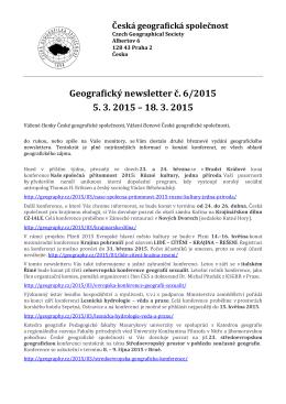 Geografický newsle 5. 3 Geografický newsletter č. 6/201 3. 2015