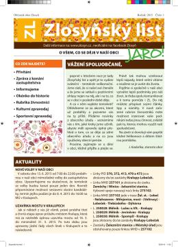 Zlosyňský list č. 1, ročník 2015