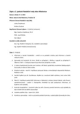 Zápis z 2. jednání Redakční rady obce Máslovice
