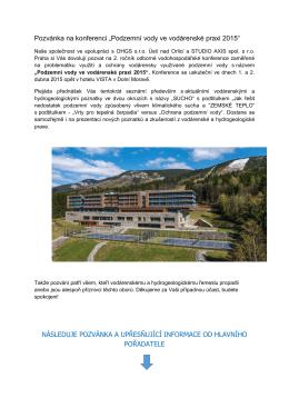 Pozvánka na konferenci Podzemní vody ve vodárenské praxi 2015