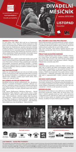 DIVADELNí MěSíčNíK - Severočeské divadlo opery a baletu Ústí