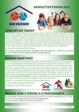NEWSLETTER ČERVEN 2015 LETNÍ DĚTSKÉ TÁBORY SETKÁNÍ
