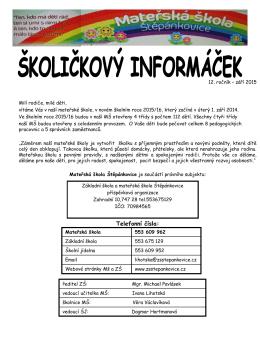Školičkový informáček 2015/2016