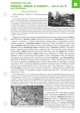 města, obce a osady... od a do Ž DoLNí LhoTa