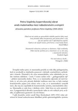 Petra Vopěnky kopernikovský obrat aneb matematika mezi