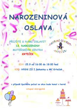 přijďte s námi oslavit 12. narozeniny mateřského centra krteček