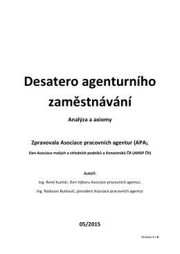 Desatero agenturního zaměstnávání - čísla, tabulky a fakta.