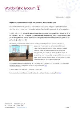 Přijďte na prezentace ročníkových prací studentů Waldorfského
